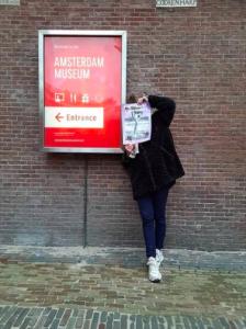 Bibi Joan in front of Amsterdam Museum